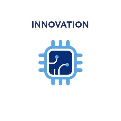 An illustration of a blue computer micro-chip to represent innovation.