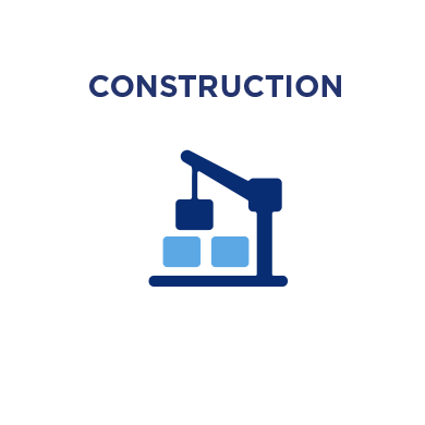 Blue silhouette of a construction crane moving a cargo box around. Construction icon.